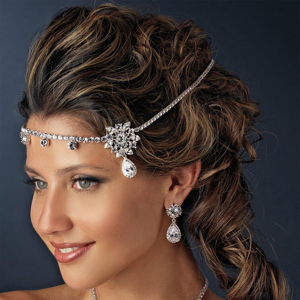 head hair forehead chain headband Rhinestone Bridal Kim K Wedding Headpiece