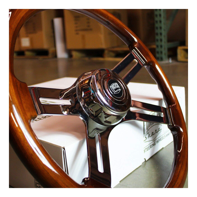 Volvo 811CH-DW,TRC5-FS 18 Wood Steering Wheel Chrome 4 Spoke Freightliner Kenworth Peterbilt