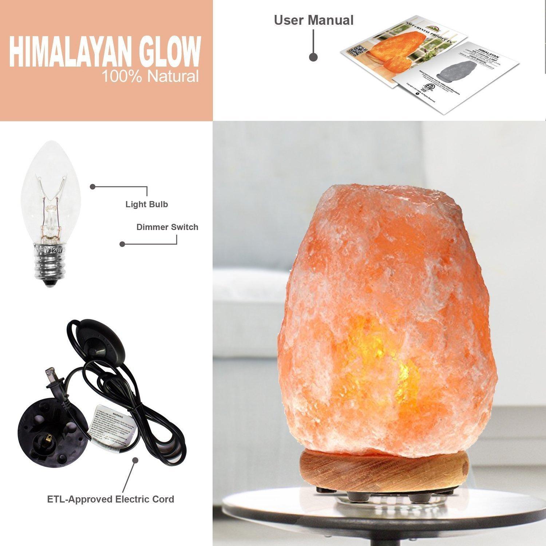 Himalayan Glow WBM 1002 large Salt lamp. ETL Certified himalayan pink salt lamp with Neem Wood Base/salt lamp light bulbs and Dimmer Control, Crystal, 9'' x 5'' x 5'', 8-11 LBS by Himalayan Glow (Image #12)