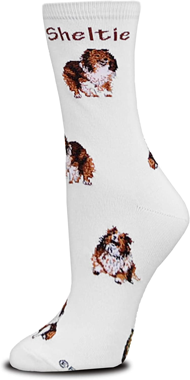 Adult Socks SHELTIE SHETLAND SHEEPDOG Poses Footwear Dog Socks Size Medium
