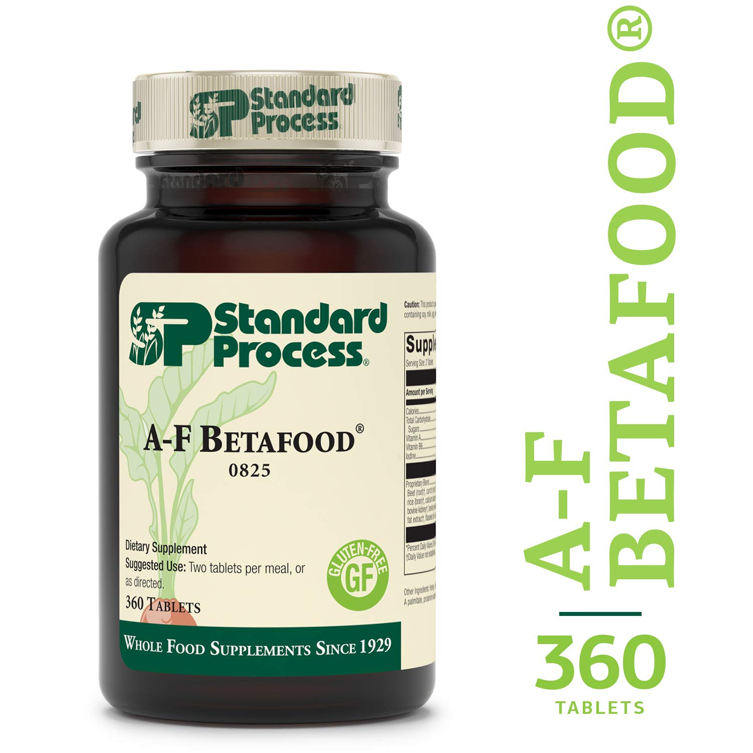 Standard Process - A-F Betafood - Whole Food Gluten Free Digestive Supplement, 1500 IU Vitamin A, Supports Healthy Fat Digestion, Cholesterol Metabolism, and Healthy Bowel Function - 360 Tablets by Standard Process
