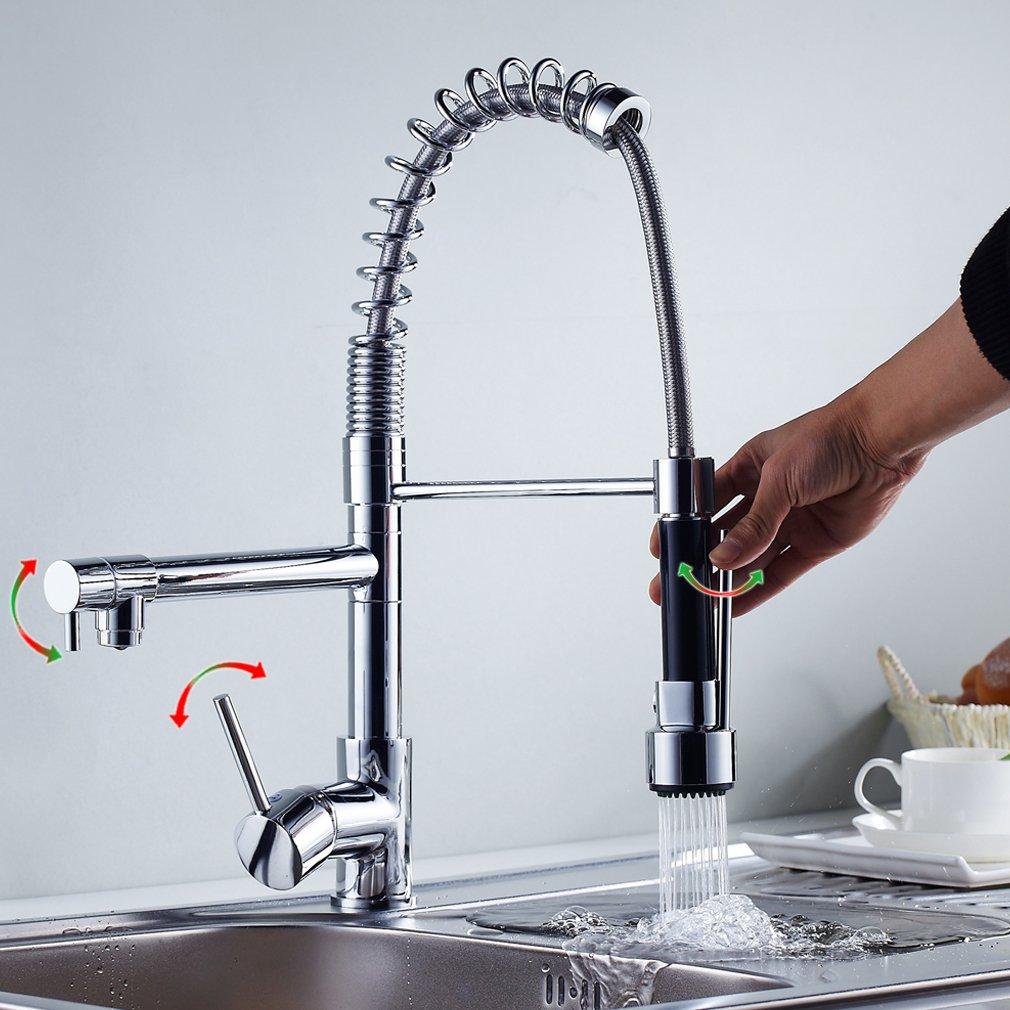 Auralum® Spiral Spring Steel Framework Professional Kitchen Sink ...