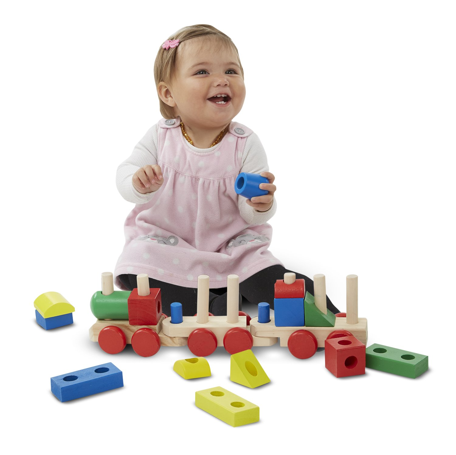 Melissa & Doug Stacking Train Classic Wooden Toddler Toy 18 pcs