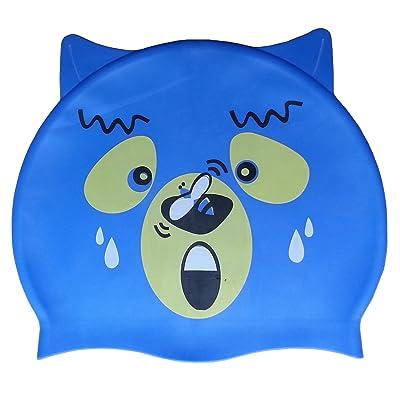 3Asyglide enfants Junior enfant Bleu Motif ours en silicone en forme de natation Caps