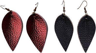Teal Suede Petal Leather Earrings