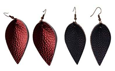cb5891ab999d0c L&N Rainbery 2 Pairs Petal Leather Earrings Faux Leather Teardrop Earrings  Leaf Drop Earrings (Burgundy