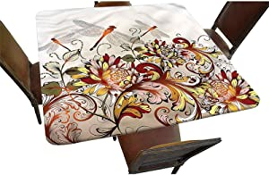 Decorative Elastic Edged Square Fitted Tablecloth,Flower Field Dragonfly Polyester Indoor Outdoor Fitted Tablecover for Folding Table Picnic Birthday Camping Garden Banquet Fit Square Table up to 42