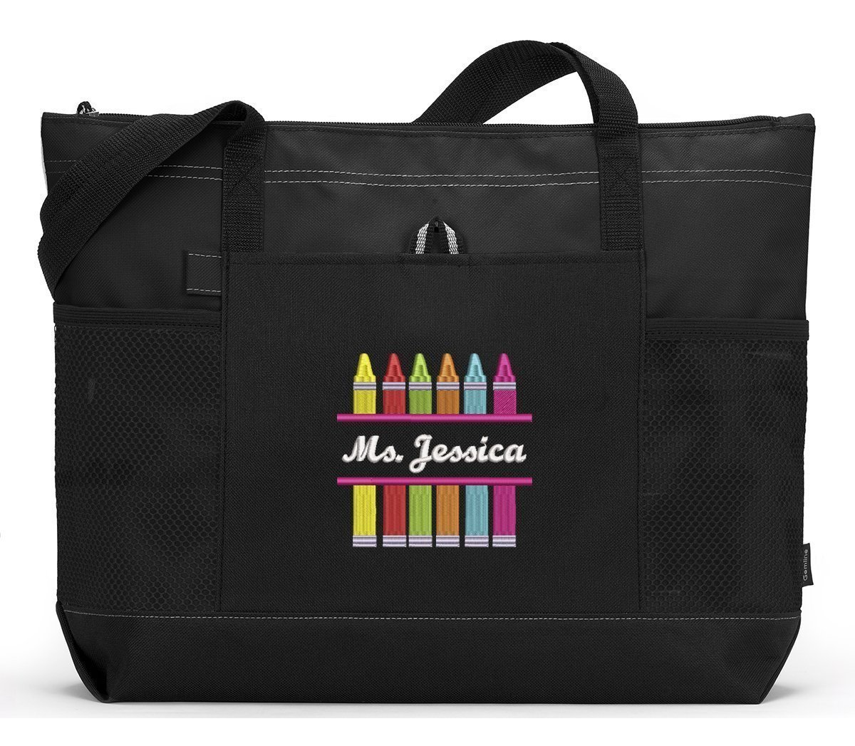 Crayons Personalized Teacher Tote Bag with Mesh Pockets, Front Pocket by Simply Custom Life