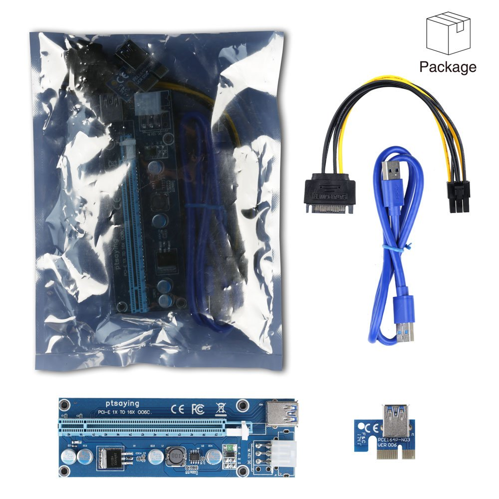 PCIe Riser Ptsaying PCI-E 16x 8x 4x 1x Powered Riser Adapter Card With LED hint w/ 60cm USB 3.0 Extension Cable & 6-Pin PCI-E to SATA Power Cable - GPU Riser Adapter - Ethereum Mining ETH(3 pack) by Ptsaying (Image #8)