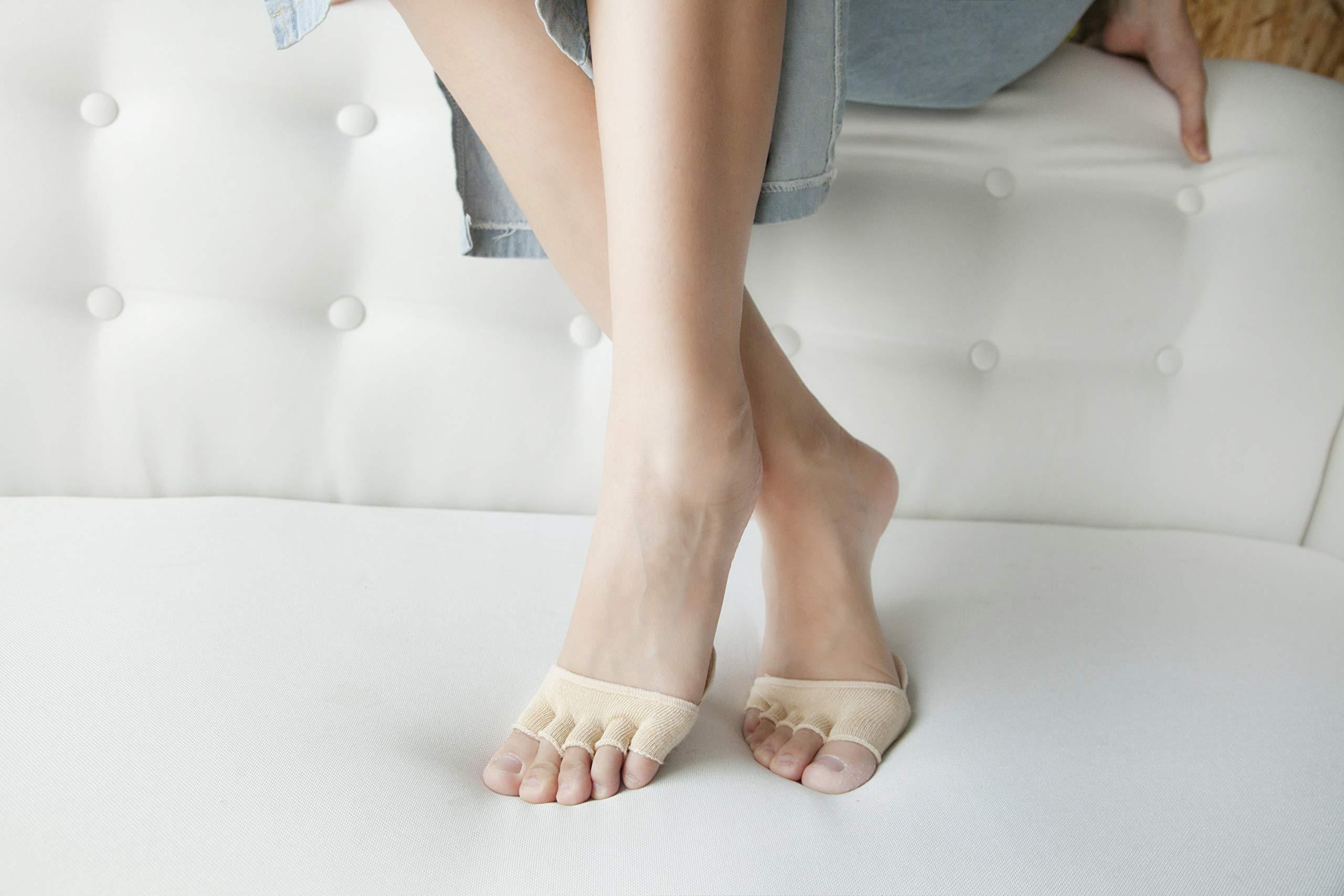 Toe Socks, Cotton Non-Slip Women's Toe Toppers Socks Toe Separating Socks No-Show Half Socks Barre Pilates Yoga Half Palm Socks(2 Pairs) by Pnrskter (Image #7)