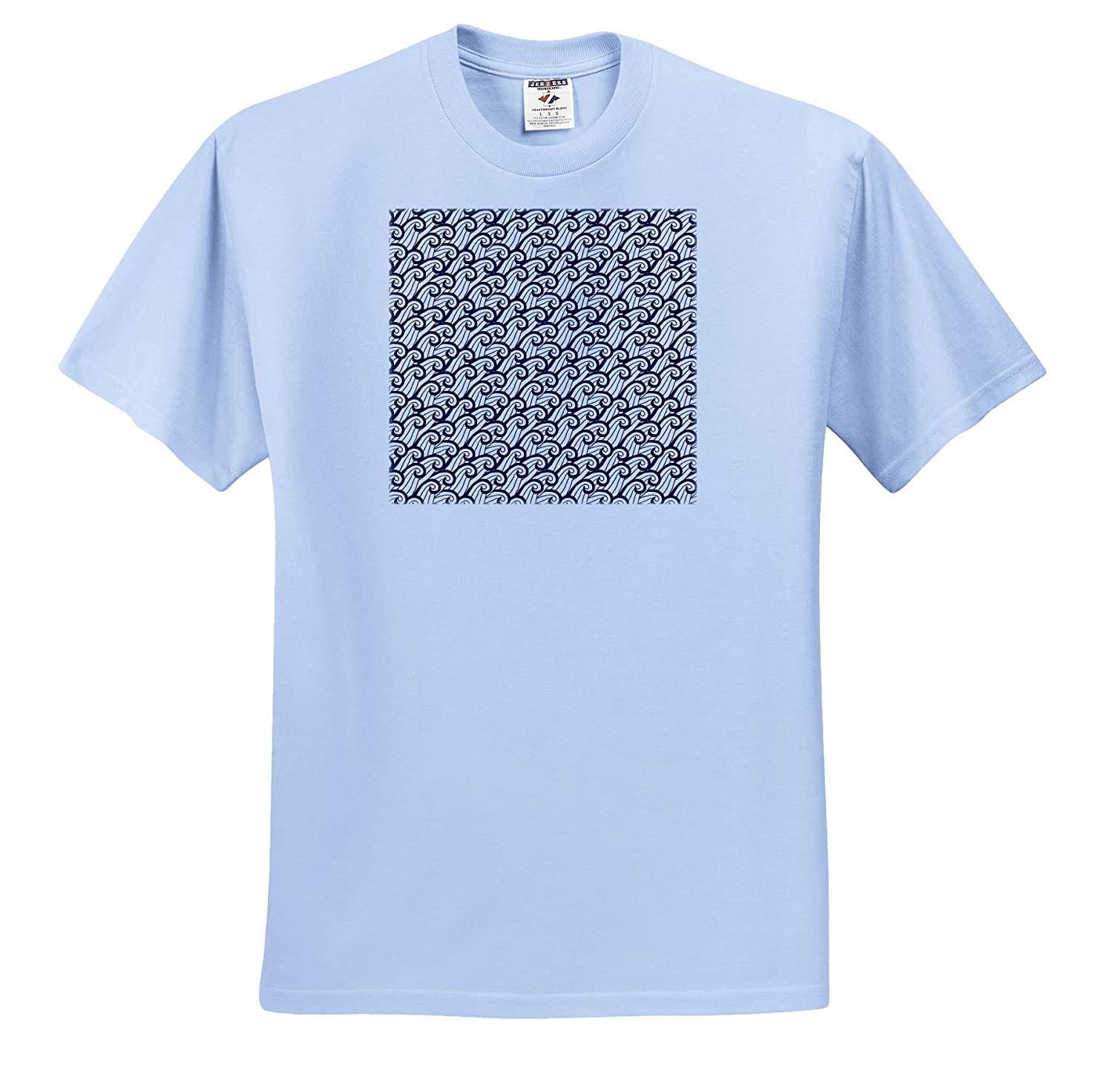 Adult T-Shirt XL Contemporary Blue and White Ocean Waves Pattern Patterns 3dRose Anne Marie Baugh ts/_309774