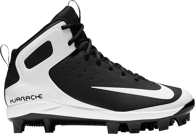 Nike Kids' Alpha Huarache Pro Mid Baseball Cleats (6, Black/White)