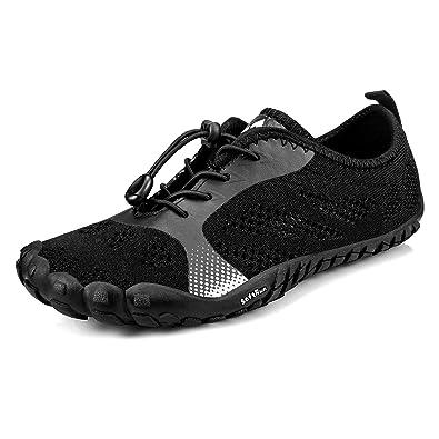c8646f56a289 Troadlop Mens Shoes Quick Dry Barefoot for Swim Diving Surf Aqua Sports Walking  All Black 6.5