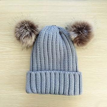 ENFANTS bébé fille garçon mignon double Pompon Bonnet Bonnet en crochet d hiver  chaud à d9b6432656a