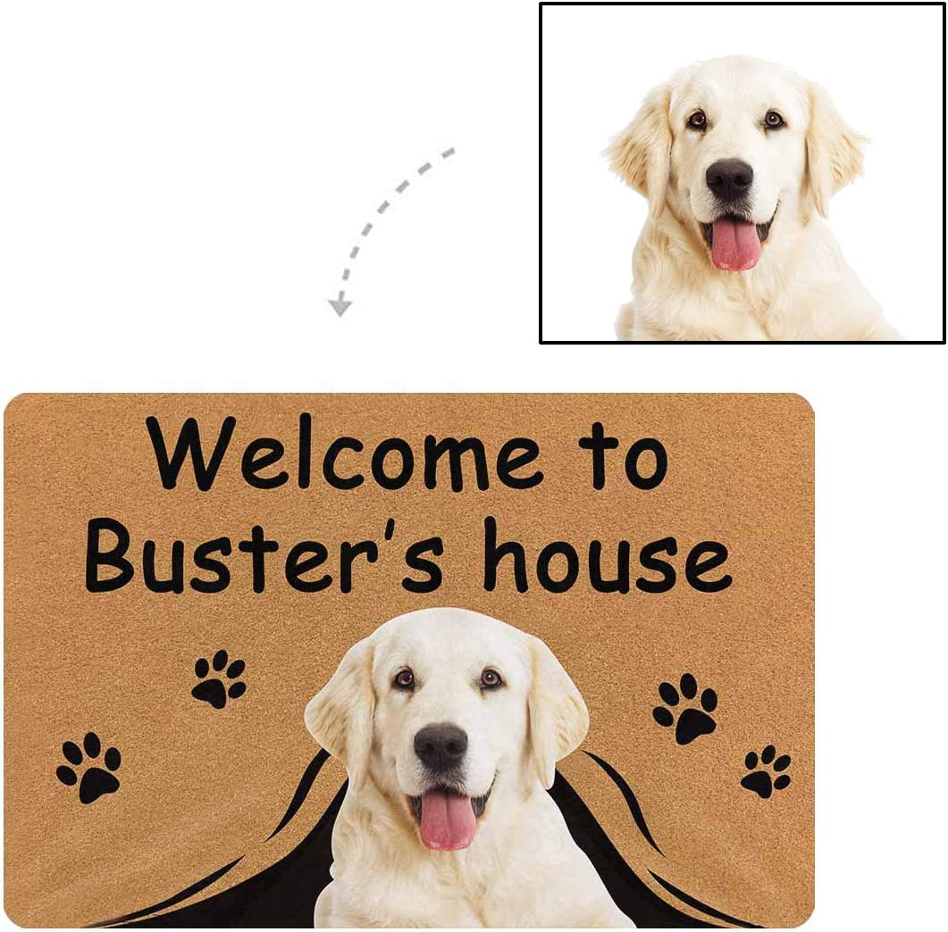 MyPupSocks Personalized Custom Doormat Dog Face Photo Welcome to Dog s Name House Custom Door Mats Inside