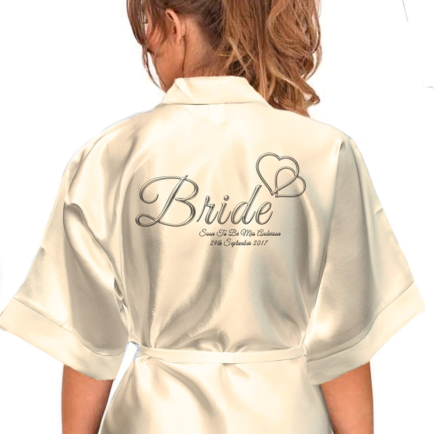 Personalised Satin Kimono/Robe Hearts Design 1. Bride, Bridesmaid, Maid of Honour, Mother of the Bride/Groom (Silver Effect) … (2-4 yrs) Inspired Creative Design ®