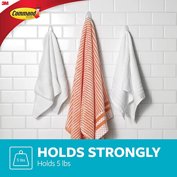Command Towel Hook, Clear, 1-Hook, 5-Pound Capacity, 4-PACK - - Amazon.com