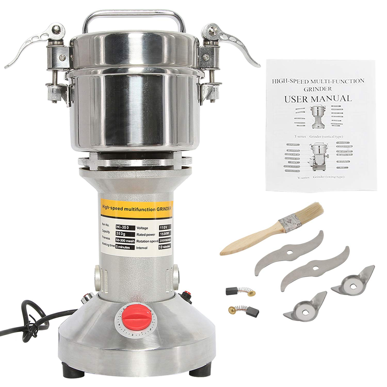 HYDDNice 350g Grain Mill Grinder High Speed 1500W 70-300 Mesh 28000RPM Electric Stainless Steel Grinder Spice Herb Cereals Corn Flour Powder Machine Commercial Grade by HYDDNice