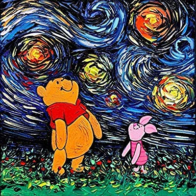 Cartoon bear baby room Art Print Poster - Starry Night - van Gogh Never Saw Hundred Acre Wood - Art by Aja 8x8, 10x10, 12x12, 20x20, and 24x24 inch sizes