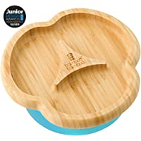 Baby Toddler Suction Plate, Suction Stay Put Feeding Plate, Natural Bamboo (Blue)