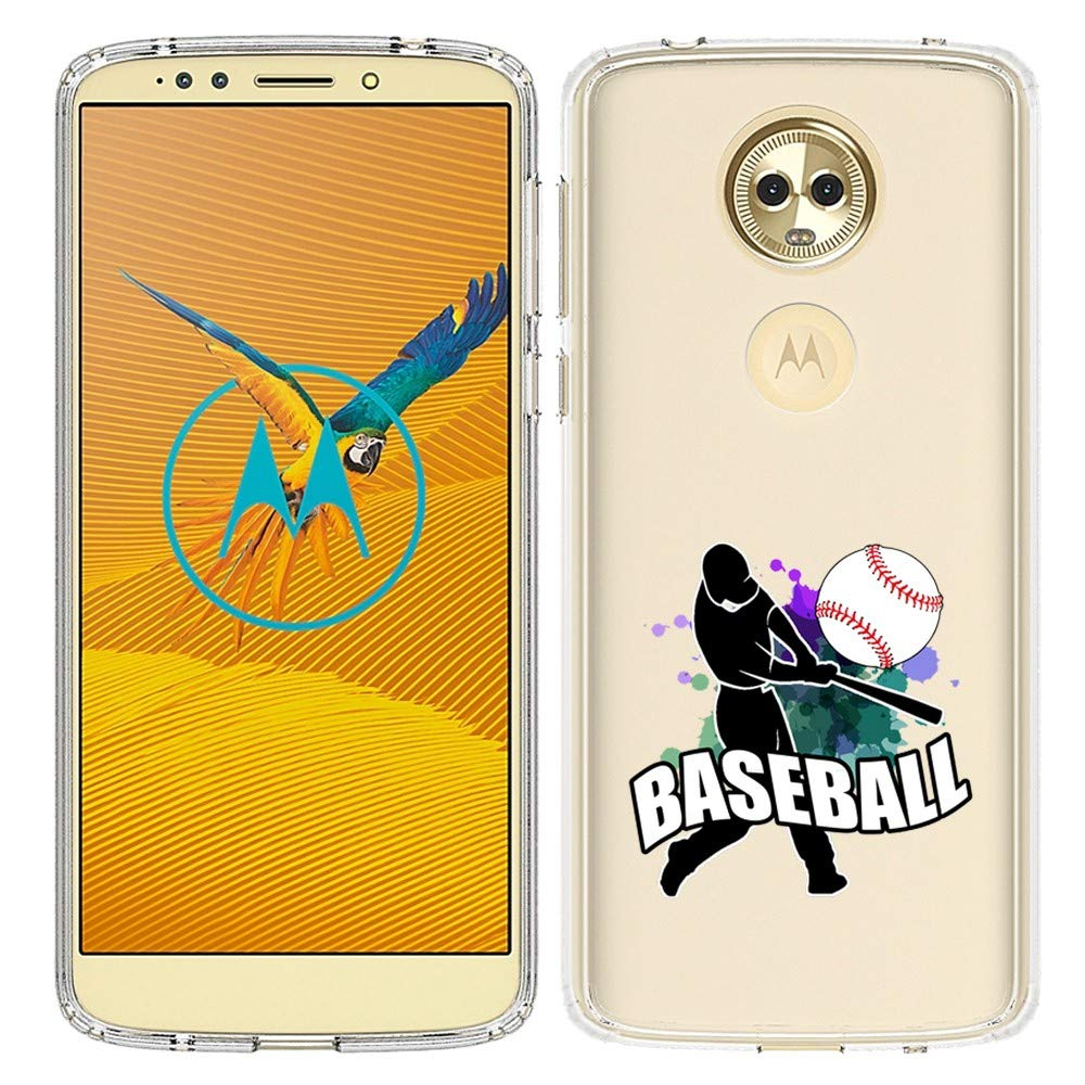 Opticase Clear Transparent Case For Moto G6 Play Baseball Player Design Printed Unique Pattern Back Cover