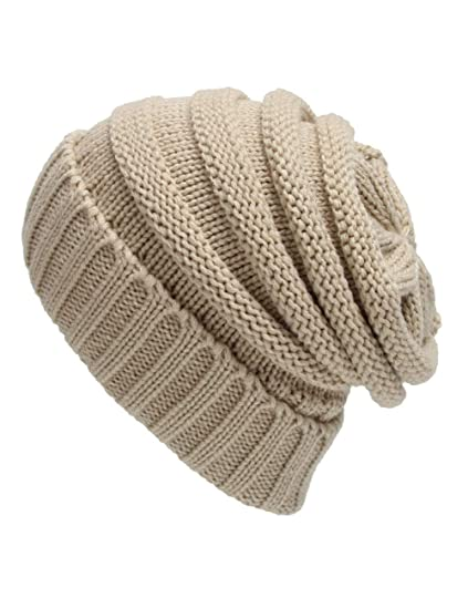 db211135ed0 ATVIAVIA Oversized Baggy Slouchy Thick Winter Beanie Hats Cable Knit Skull  Cap (Beige) at Amazon Men s Clothing store