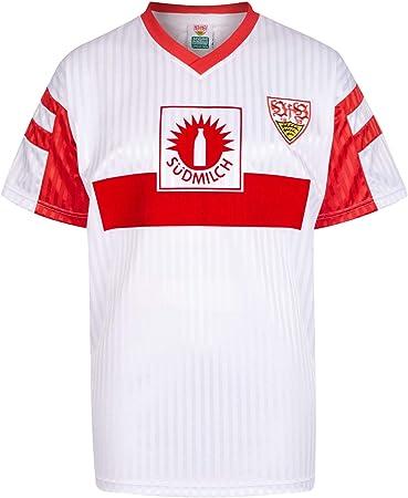 Camiseta retro ScoreDraw VfB Stuttgart 1992 de la liga alemana, equipación de casa, Hombre, Blanco, small: Amazon.es: Deportes y aire libre