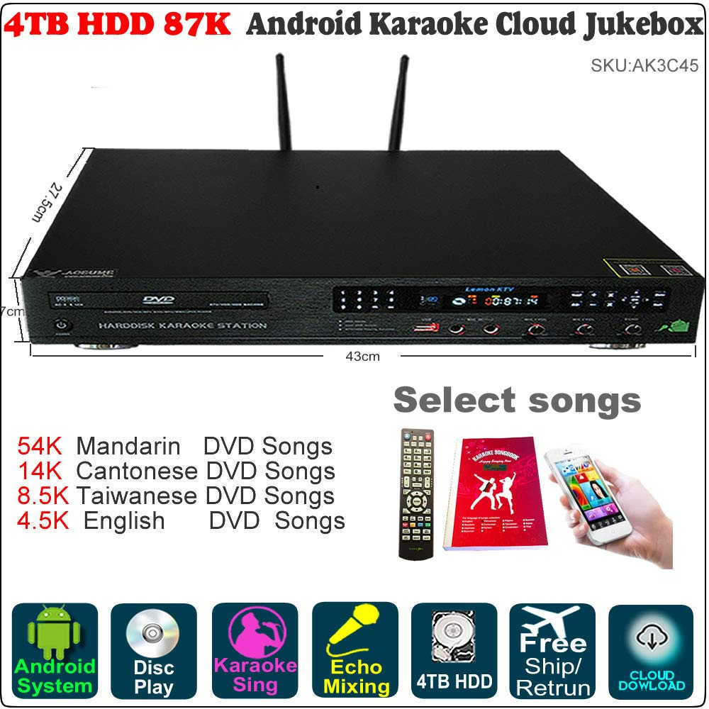 4TB HDD 87K Chinese,English Songs,Android Karaoke Player,Jukebox,Cloud download,English Songs Microphone Port, ECHO mixing, DVD Driver,New Update To 2018 June. 卡拉OK點歌機,安卓播放器,云下載,國語,粵語,閩南語,英語