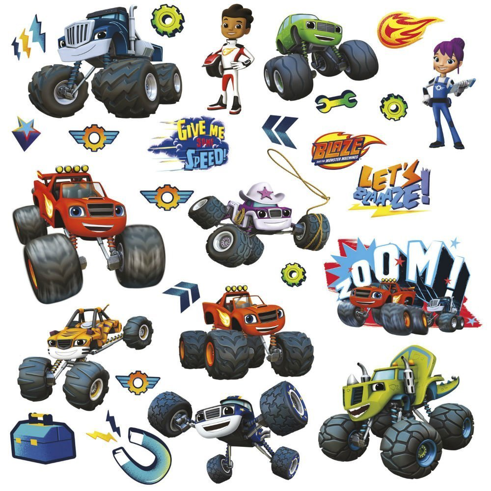 28 BLAZE AND THE MONSTER MACHINES WALL DECALS Trucks Stickers Boys Bedroom Decor U.S Top SelleR