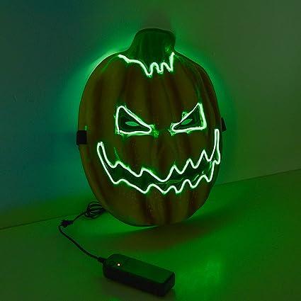 Charlemain Máscara de EL Wire de Calabaza de Halloween LED Máscara Iluminada, Brillante Luz de Neón LED Flexible para Festivales / Navidad / Noche de ...