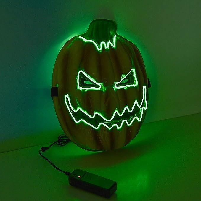 Máscara neón LED calavaza verde halloween