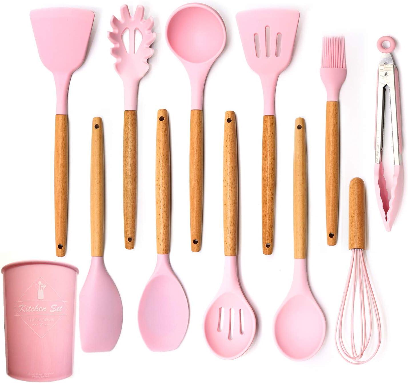Set utensileria da cucina in silicone rosa - I 7 migliori utensili da cucina su Amazon - SaluteCosmetica