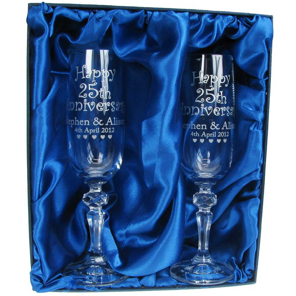 40th Wedding Anniversary Gift Personalised Champagne Flutes 24 Lead Crystal Engraved Glasses Gifts