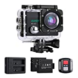 AUKEY Action Cam 4K Ultra HD, WiFi e 2.4 GHz Telecomando, Impermeabile, Grandangolo 170°, con Due Batterie, Caricatore di Batterie e Kit Accessori