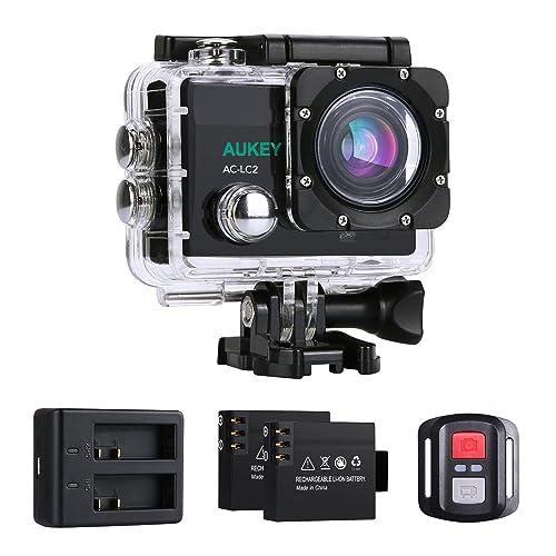 AUKEY Camera Sport 4K Ultra HD Wifi Action Cam étanche avec deux Batteries Rechargeables et Kit d' Accessoires, 2,4GHz Télécommande, 170° Grand Angle