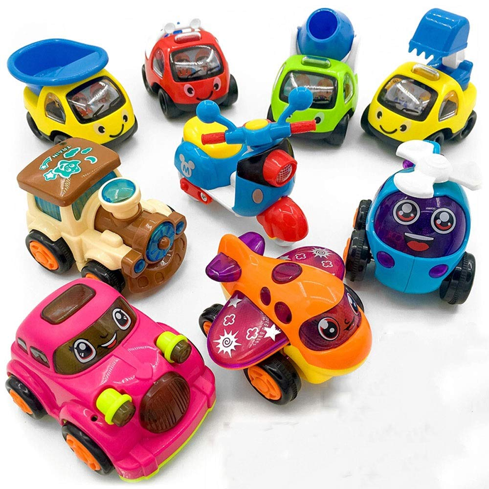 Ycco Inertia Toy Car Pull Back Vehicles Mini Cartoon Vehicle Set, Vehicles Truck Mini Car Toy For Kids Toddlers Boys, Pull Back And Go Car Toy Play Set (9 Pack) (color   A2)