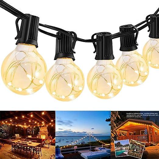 Guirnaldas luminosas de exterior, Guirnaldas Luces Exterior Bombillas, Doris Direct G40 25ft Cadena de