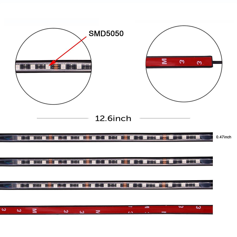 Ansche Led Auto Interni Kit 72 Leds Illuminazione 3 Barre 8 Colori