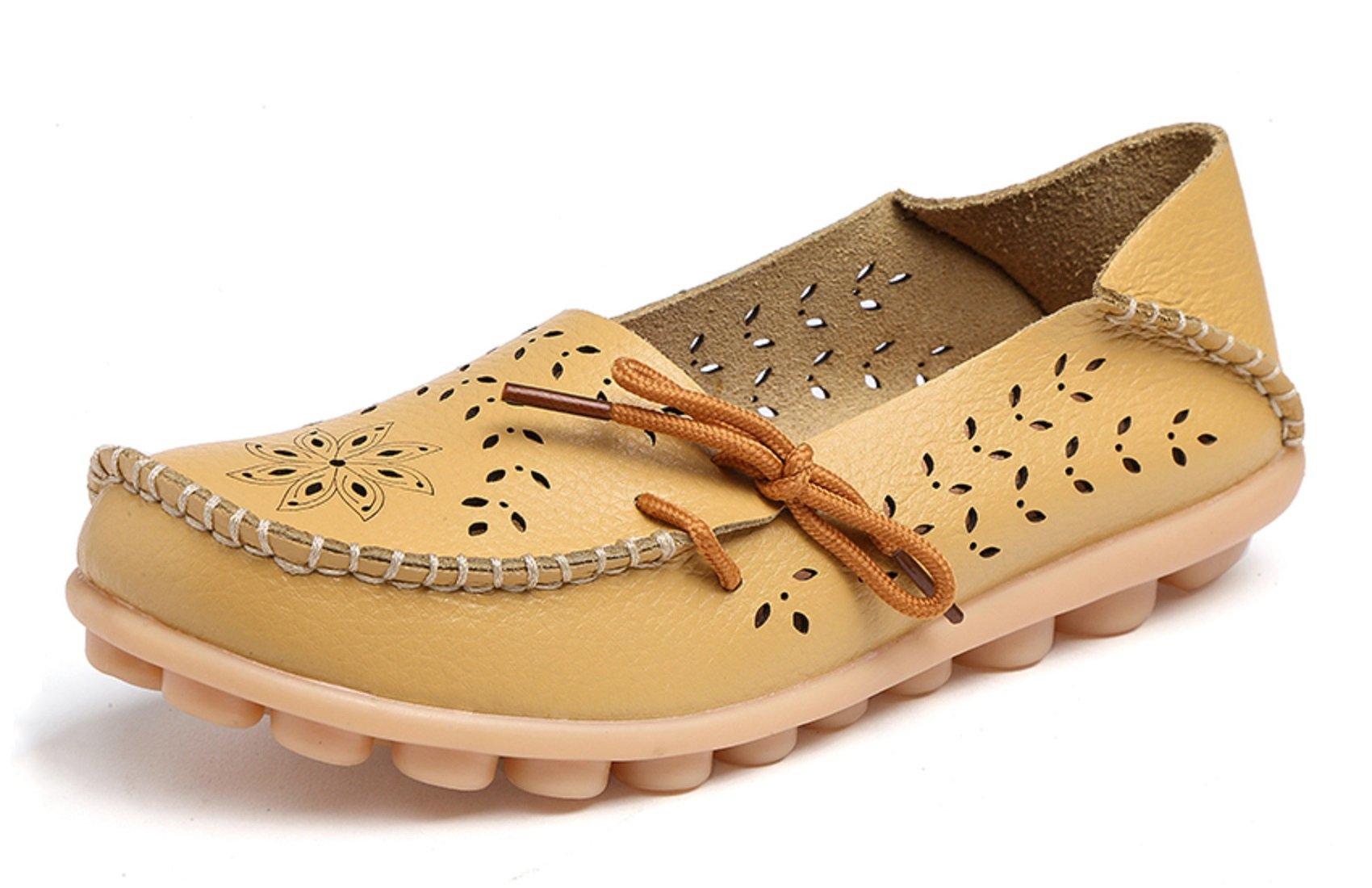 VenusCelia Women's Breathable Comfort Walking Flat Loafer(6 B(M) US,Yellow)