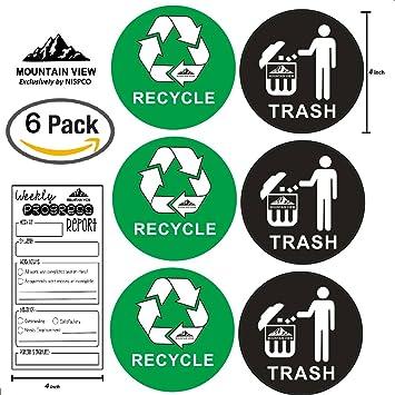 amazon mountain view 6パックリサイクル trashシンボルステッカー