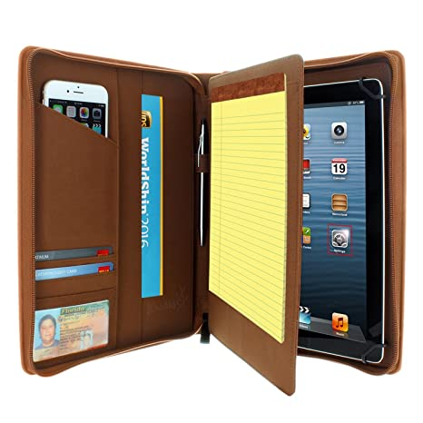 KHOMO Universal Tablet Padfolio Zippered Case for 8.5 up to 11 tablets - Brown - Compatible with iPad Air, Pro 11 and many others
