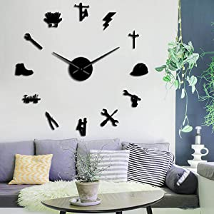 DIY Wall Clocks - Lineman Silhouette 3D Wall Clock DIY Wall Art Mirror Stickers Line Worker Wall Decal Electrician Frameless Large Wall Clock Home Decor,Black,47 Inch