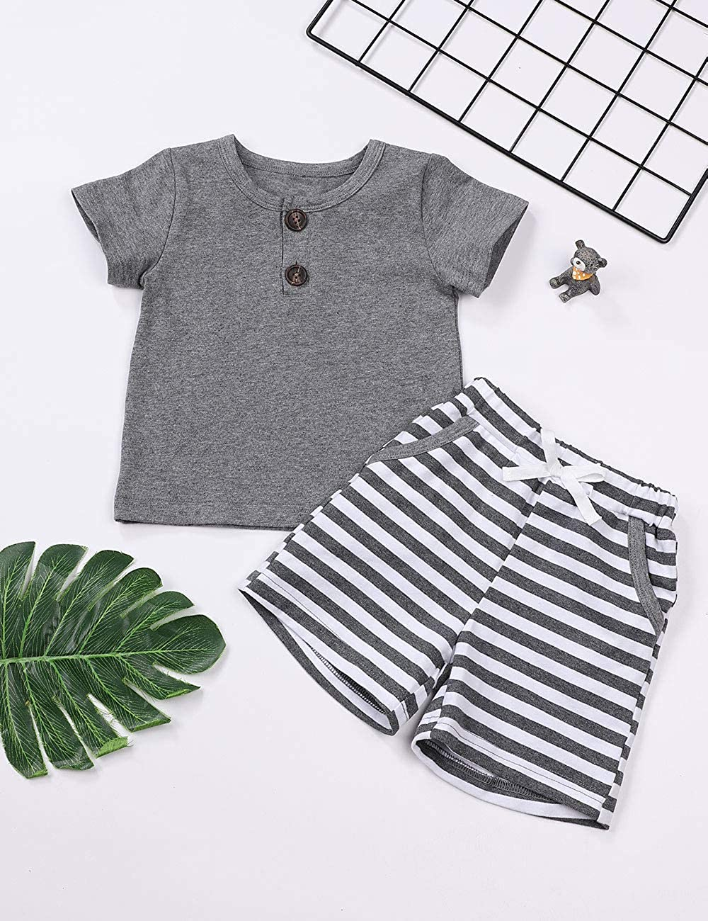 Baby Boy Clothes Solid Color Short Sleeve T-Shirt Tops Stripe Shorts Pants Summer Outfit