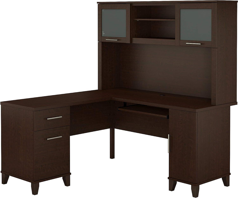 Bush Furniture Somerset L Shaped Desk with Hutch, 60W, Mocha Cherry