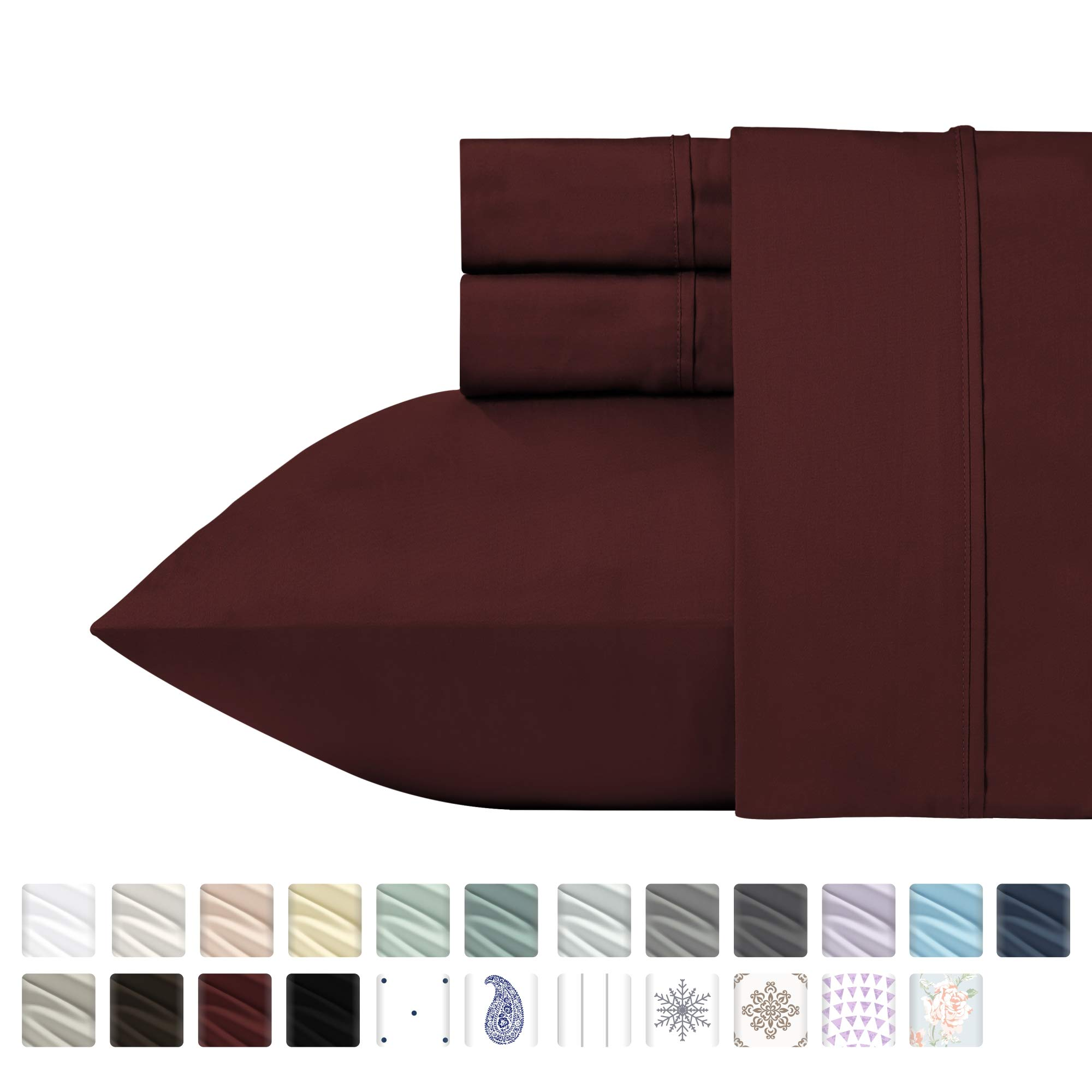 400 Thread Count 100% Cotton Sheet Set, Red Wine Queen Size Sheets, Highest Quality Long-staple Combed Pure Natural Cotton Bed Sheets For Bed, Soft Sateen Sheets Fits Mattress Upto 18'' Deep Pocket by California Design Den