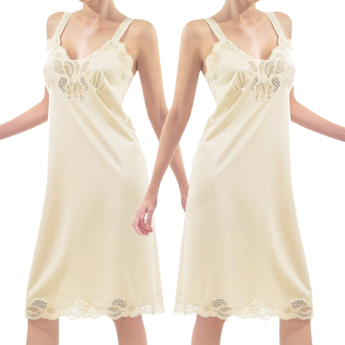 Under Moments Antistatic Vintage-style Full Slip w/Lace Details Color Combo Pack 2012