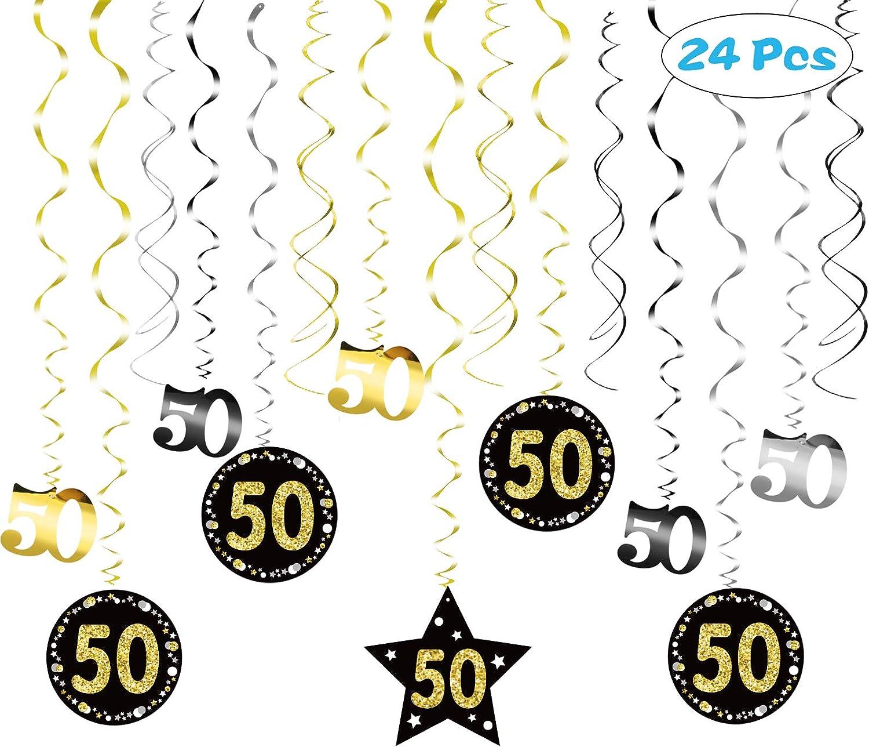 SEELOK 50 Ans Anniversaire D/écoration Suspension Tourbillon Plafond 24pcs Anniversaire Hanging Swirl Joyeux Anniversaire Guirlande Celebration Happy Birthday 50e pour Femme Homme Noir Or Argent
