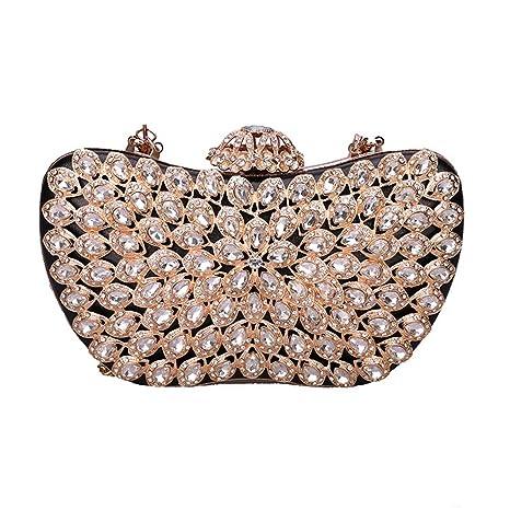 Mini Diamante-Encrusted Bolso de Noche,Señoras Clásico Bandolera Bolso Clutch Iglesias y los