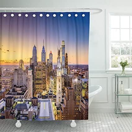 TOMPOP Shower Curtain Cityscape Philadelphia Pennsylvania USA Downtown City  Skyline Architecture Aerial Waterproof Polyester Fabric 60 x 72 Inches Set