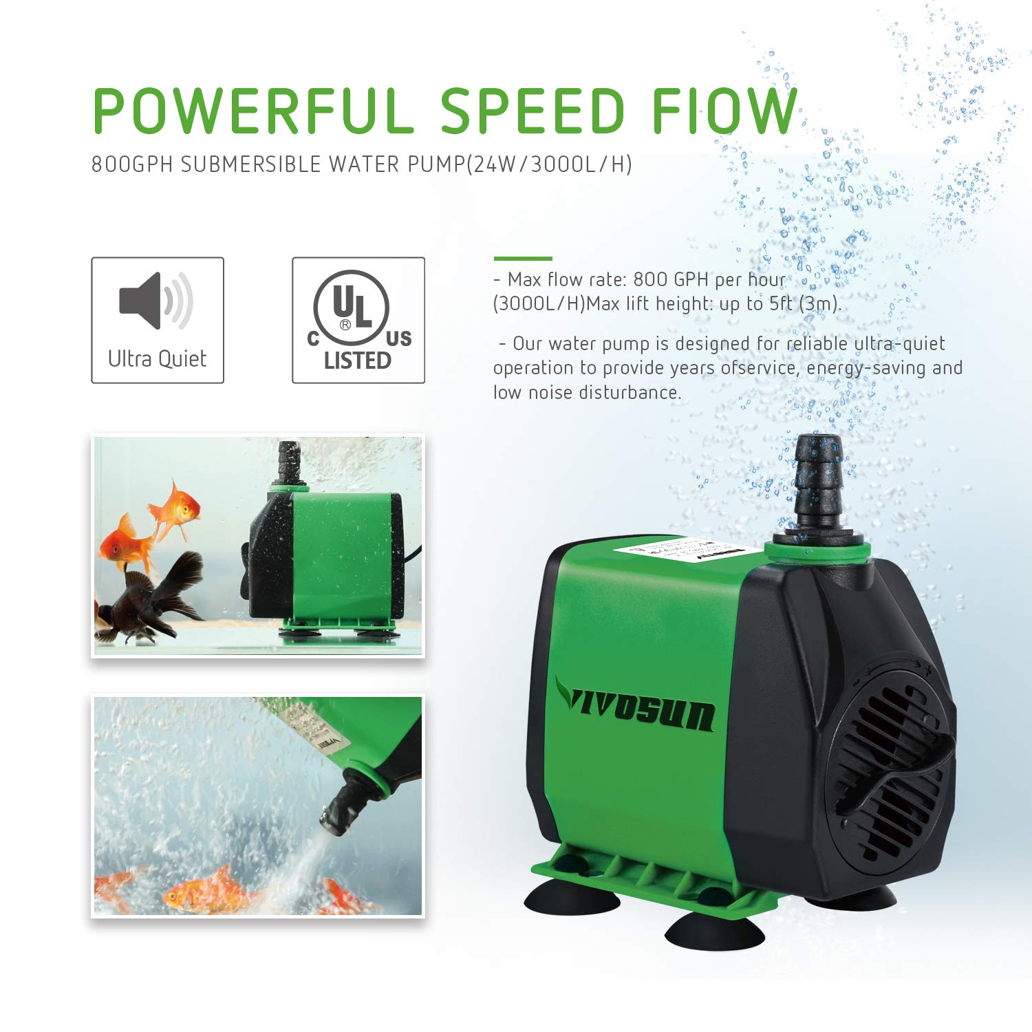 VIVOSUN 800GPH Submersible Pump(3000L/H, 24W), Ultra Quiet Water Pump with 10ft High Lift, Fountain Pump with 5ft Power Cord, 3 Nozzles for Fish Tank, Pond, Aquarium, Statuary, Hydroponics by VIVOSUN (Image #5)